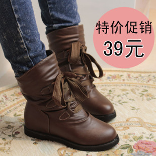 特价 秋季短靴 女鞋裸靴 马丁靴女 中筒靴 平底短靴 靴子皮质女靴