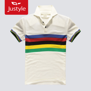 Justyle summer fashion Rainbow Olympic  collar short sleeve men's  shirt 22,121,032