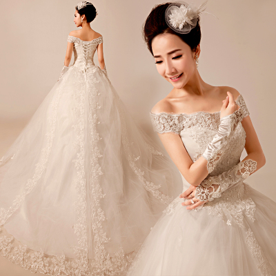 Love the roots of the word wedding dress 2014 new winter fashion shoulder strap Qi trailing lace wedding dress