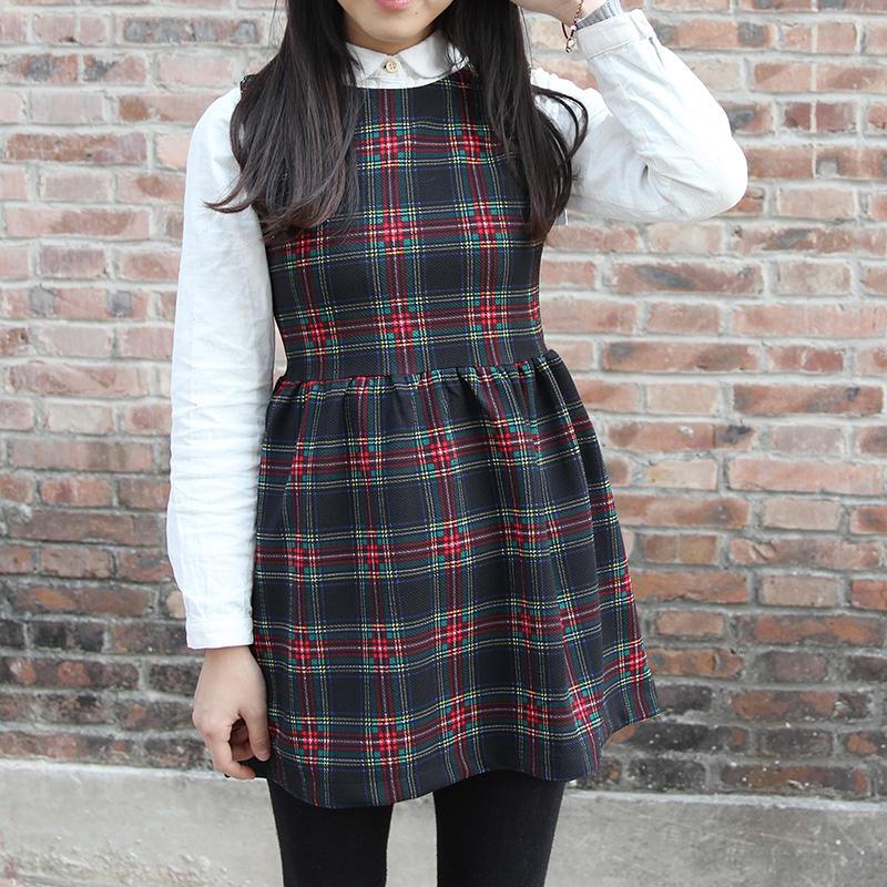Женское платье Корейская версия нового ретро самосовершенствование Сарафаны для Весна и осень/зима высокой талии плед платье женщина юбкой плиссированной юбкой