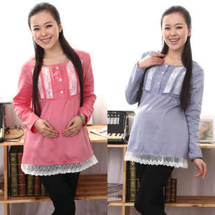 Yi Xiuge maternity dresses spring clothing Korean lace stitching two pregnant women coat color in 1395
