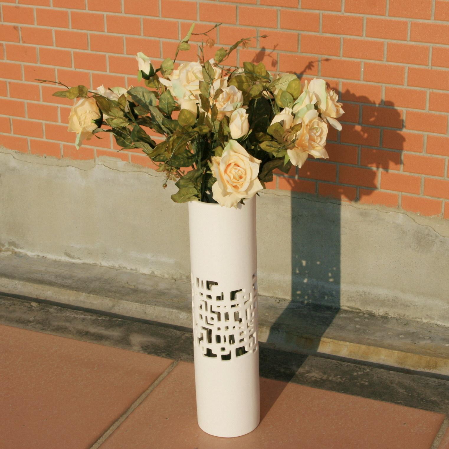 婚房新欧式雕刻镂空精品亚光磨砂珍珠白 现代陶瓷家居落地大花瓶