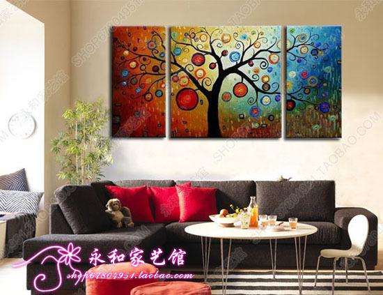 纯手绘发财树三拼套肌理无框油画现代家居装饰酒吧饭店墙壁挂pc28图片