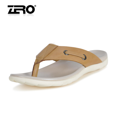 Zero Zero authentic free shipping 2014 summer men's soft leather slip resistant breathable lightweight flip-flops