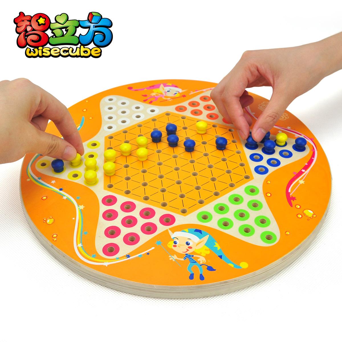 智立方 小精灵跳棋 木制大号圆盘六角跳棋 儿童益智玩具图片