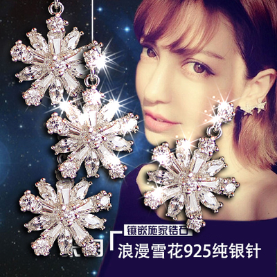 E457 925 sterling silver snowflake crystal earrings Korean female zircon diamond ear clip earrings non pierced ears