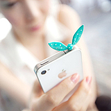 E7055 the Korean cargo sweet jelly color rabbit ears water Jade the little butterfly Results dust plug iphone4