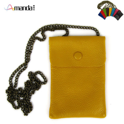 Stylish and practical iphone full cowhide leather bag chain bag 5-inch large-screen phone card camera bag