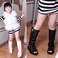 детские сапоги Электронной почты ботинки Корейский 2014 летних для детей сети сапоги ботинки сапоги прохладно новый рыбы рот ботинки девушки обуви сандалии