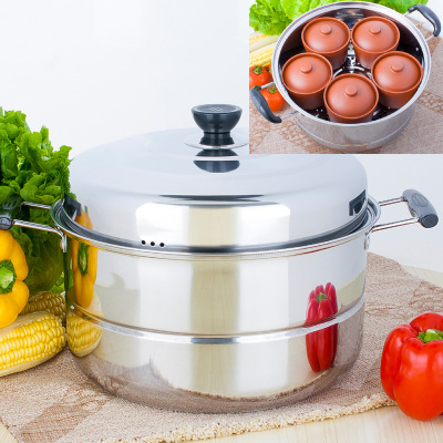 Cubs can steam can stew steaming stew pot of thick stainless steel steamer double bottom 32 cm floor steamer send five Dunzhong