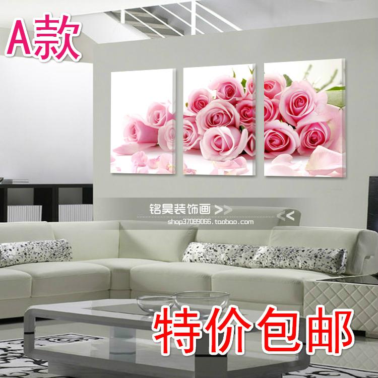 Фреска Специальный кристалл декоративной живописи изображение кадра тройной висит фотография романтический гостиной спальни росписи розовые розы