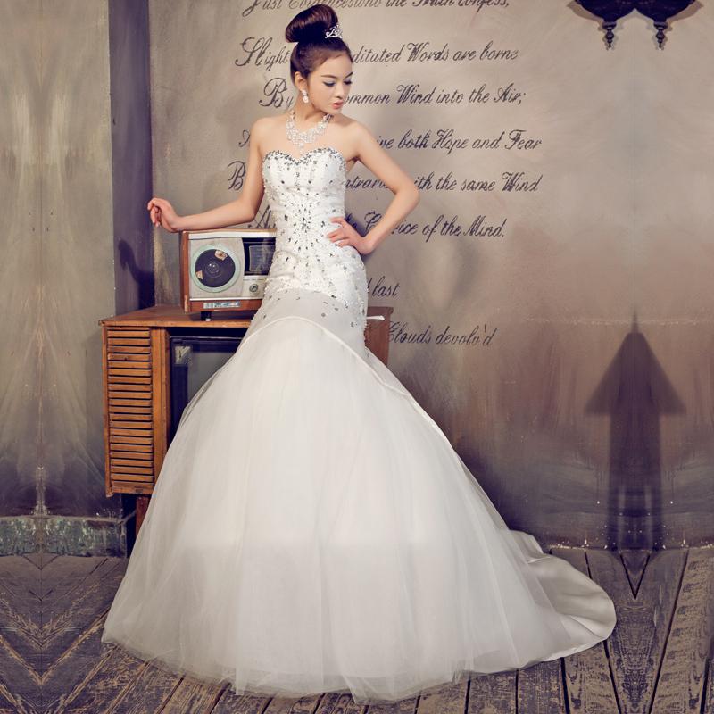 华纱 新款婚纱结婚季 礼服结婚季 皇室复古 抹胸鱼尾 韩式小拖尾 新娘结婚9029