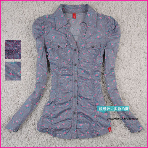 женская рубашка ESPRIT Городской стиль Длинный рукав Рисунок в цветочек