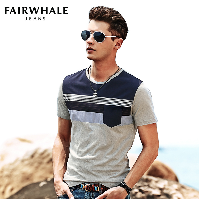 Mark Fairwhale The new summer 2014 short sleeve T-shirt Men splicing tide short T men's clothing Taobao Agent
