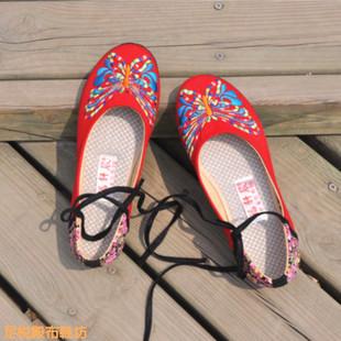 老北京布鞋正品 女款单鞋绣花鞋民族风交叉绑带软底平跟女单鞋