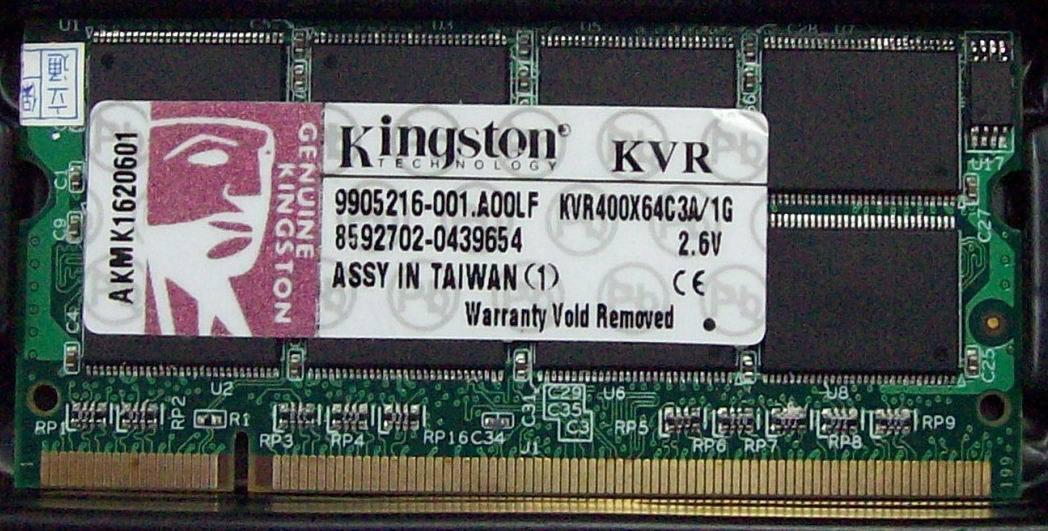 Оперативная память KingSton  KVR400X64SC3A/1G DDR 1G 400