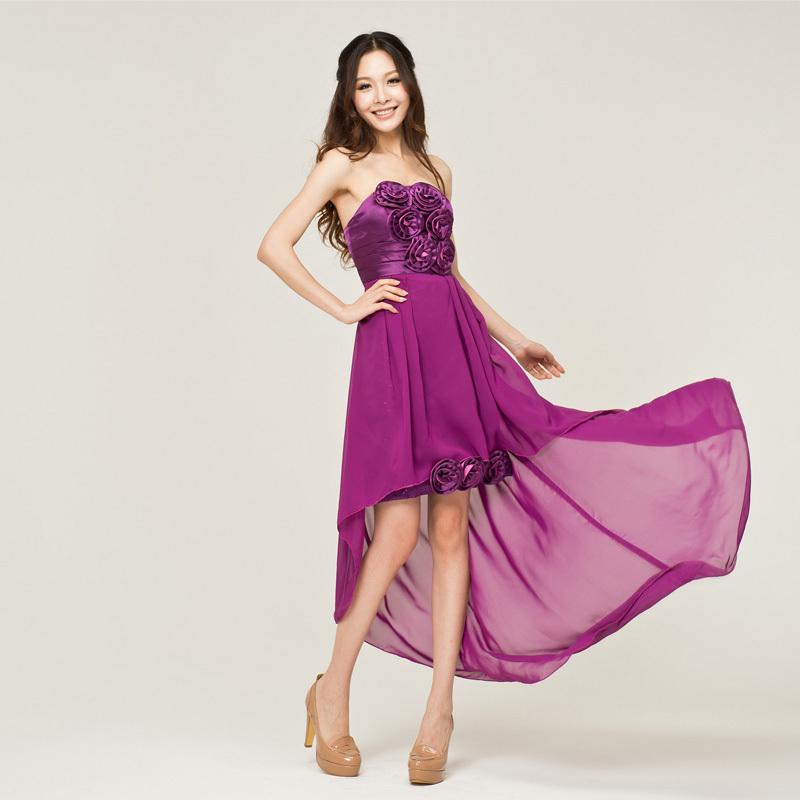 韩版新娘伴娘礼服 结婚敬酒服 紫色雪纺宴会晚礼服前短后长小礼服