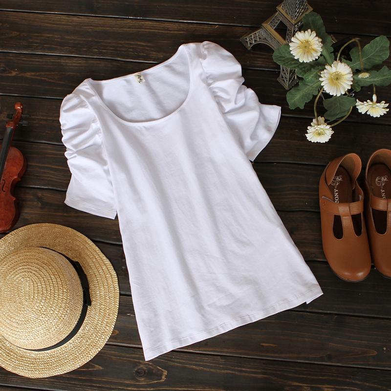 6868 2012春装新款原创韩版百搭圆领公主泡泡袖短袖T恤