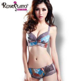 玫瑰柏拉图 调整型胸罩性感收副乳聚拢厚小胸蕾丝内衣 女文胸套装