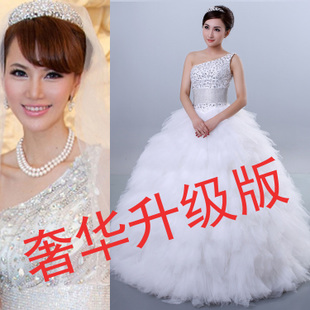 2013 newest luxury Shoulder Diamond Slim Korean wedding dress trailing feather dress ultra-luxurious wedding dress