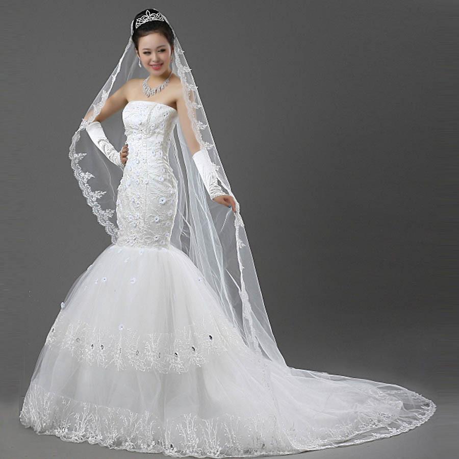 新娘修身韩版结婚季公主鱼尾拖尾婚纱礼服春季结婚新款2013酒店大码胖mm