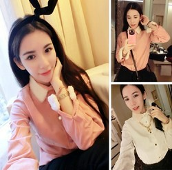 Korean style fashion lamb fur collar stitching cuffs corduroy long sleeve shirt