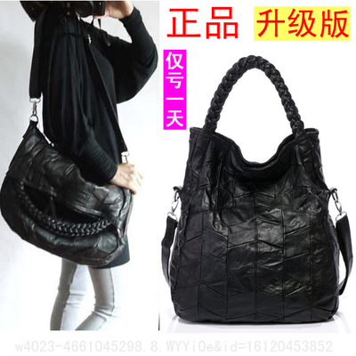 European and American fashion trend black leather large bag lady wild sheepskin shoulder bag Messenger bag woman bag tide simple