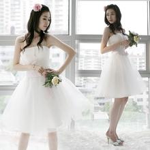 限购韩版婚纱小礼服 结婚伴娘礼服 短款婚纱礼服连衣裙伴娘服2109