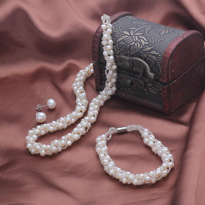 VIVI 新娘珍珠套装 天然珍珠项链/手链/耳钉 结婚首饰婚纱配饰