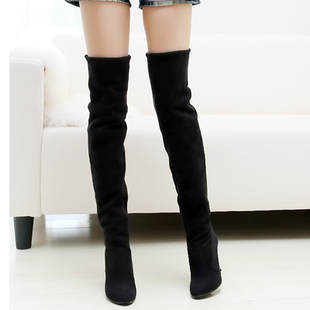 Special offer clearance genuine pointed knee boots women boots stretch high heel boots of  matte velvet code shoes