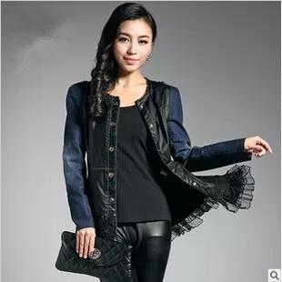 2014春季大码时尚拼接PU皮衣 女 中长款蕾丝边女式外套