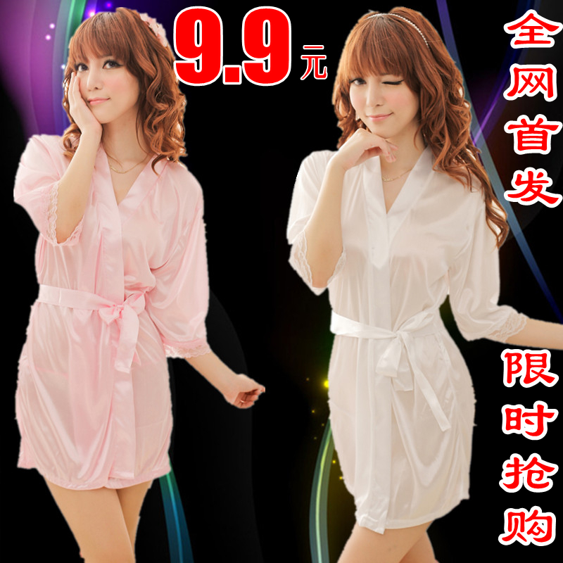 女式夏季性感睡衣仿真丝冰丝半透明浴袍睡裙蕾丝套装诱惑