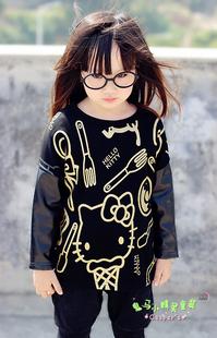 潮衣KITTY猫拼接皮袖加厚加绒女童中长卫衣 全店清仓