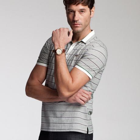 劲霸男装正品-男t恤-翻领条纹纯棉时尚短袖t恤