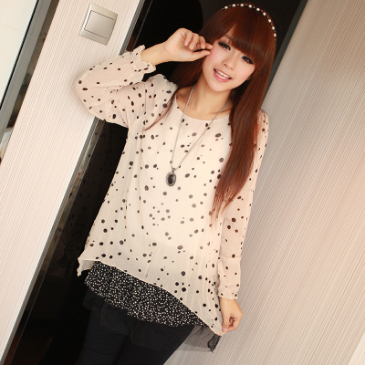 Spring dot hem lace spell snow spins round collar short miniskirt Japanese irregular chiffon long-sleeved dress