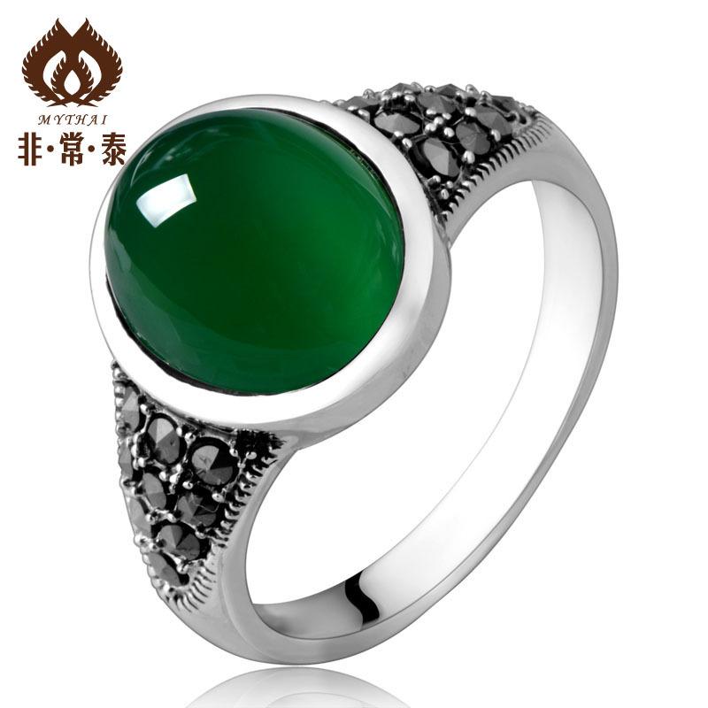 非常泰 925纯银泰银玛瑙戒指首饰 韩版潮人小女人款食指指环 新品
