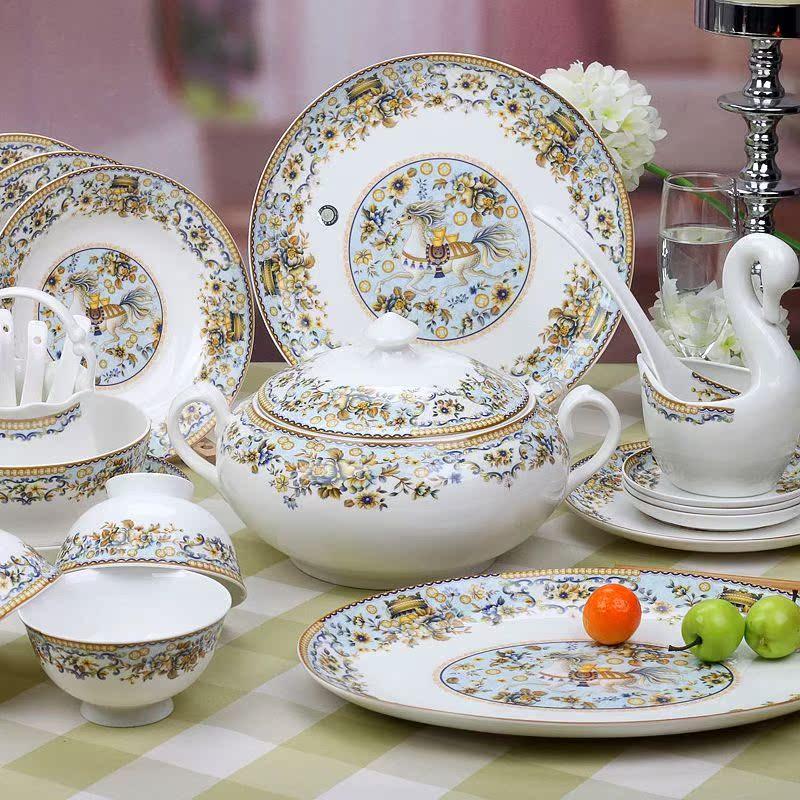 58头景德镇陶瓷器 马上发财 优质骨瓷餐具套装 釉中彩 欧式宫廷款图片