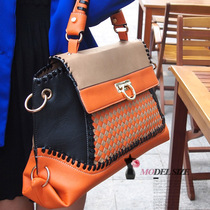 撞色手提单肩女式包包欧美英伦复古女包大容量编织格子包新款