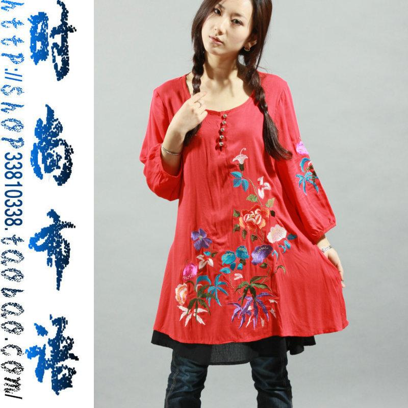 женская рубашка Fashion cloth Language Повседневный Разный дизайн О-вырез