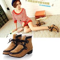 正品lena新款女鞋 个性磨砂皮拼接前系绑带短靴 方跟 韩版靴子 冬