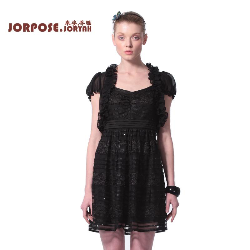 卓姿乔雅正品 夏装新款修身网底条纹蕾丝吊带连衣裙13xa1637