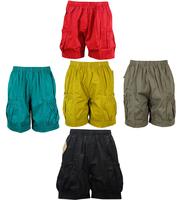 夏装中老年女士高腰松紧宽松纯色全棉短裤夏天中年人加大女裤夏裤