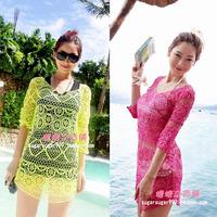 特! 韩版 海滩渡假钩花沙滩裙罩衫 镂空钩花衫 玫红荧光绿