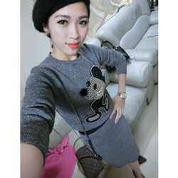 European style beaded diamond pattern sweater Mickey bust skirt suit