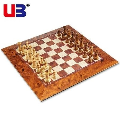 Genuine ub AIA faux wooden grain chess checkers board with magnetic stereo boxed