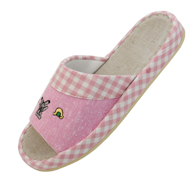 Male and female couple cute plaid Jiajiale Habitat home slippers sandals fashion spring and summer linen CQ051