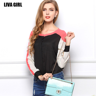 In the summer of Europe and the United States considers itself of blasting models of foreign trade garment shirt with long sleeves stitching color collar temperament OL chiffon blouse