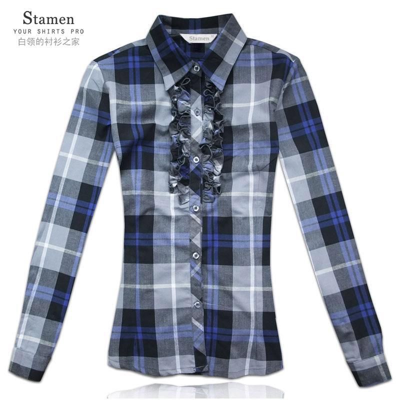 женская рубашка Stamen 3617 Casual Длинный рукав В клетку