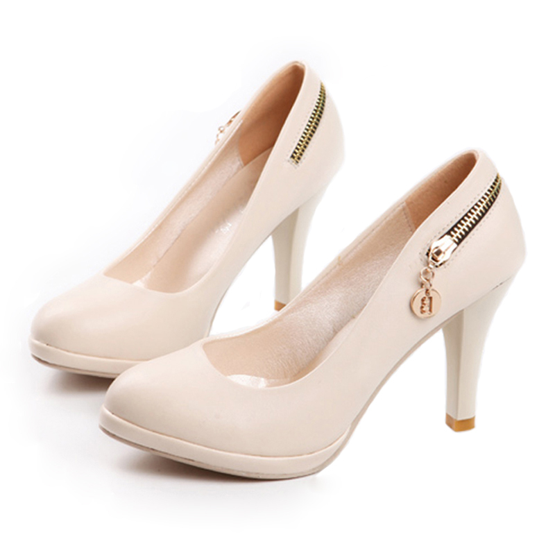 2011春款女鞋限时促销包邮 拉链装饰防水台高跟厚底单鞋
