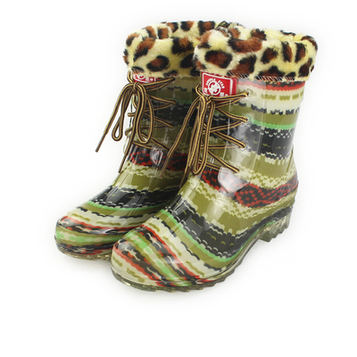 DOUBLE STAR / binary ladies half barrel Martin boots female models plus cotton camouflage rain boots lace beautiful student